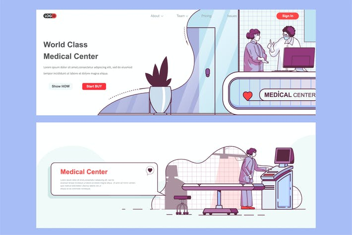 Thumbnail for Medical Center Header Footer or Middle Content