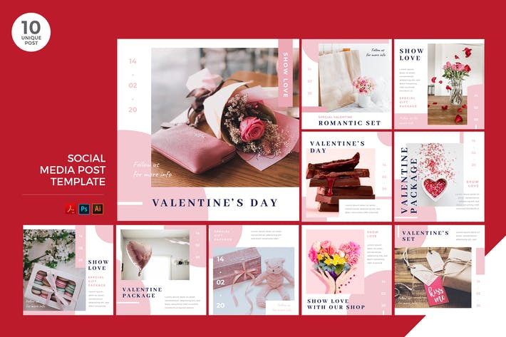 Thumbnail for Happy Valentine's Day Social Media Kit PSD & AI