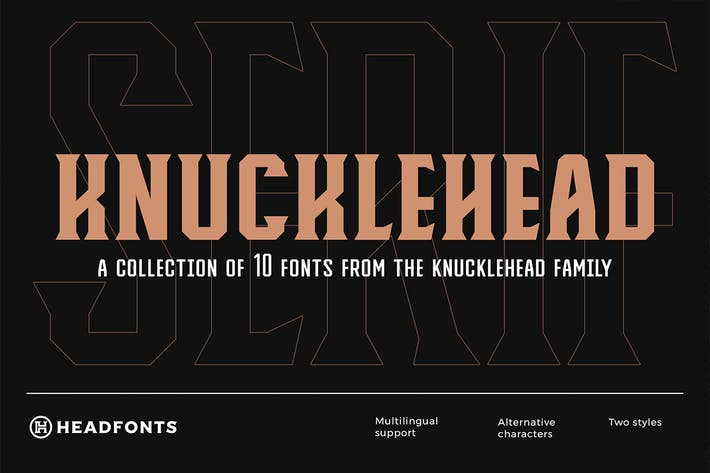 Thumbnail for Knucklehead Serif | Vintage Font