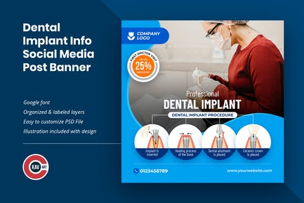 Dental Implant Info Social Media Post Banner