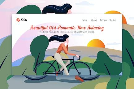 Schöne Mädchen Romantische Zeit Entspannung Landing Page