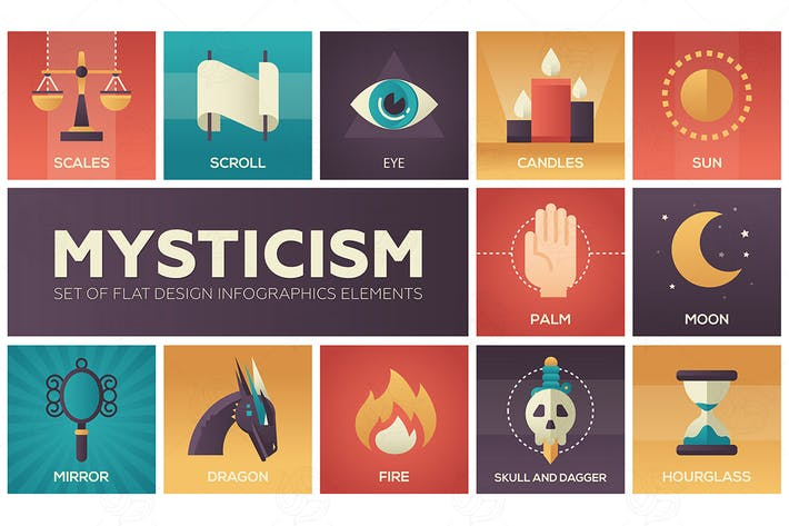 Thumbnail for Mysticism - flat design infographics elemens