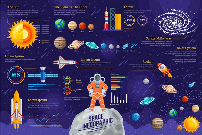 Thumbnail for Space Infographic PSD and AI Vector Template