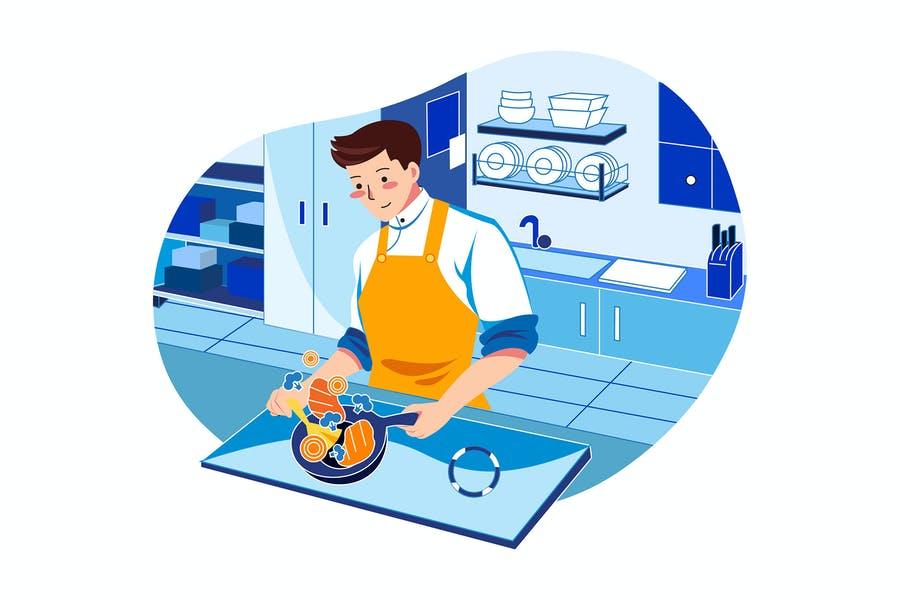 Chef cooking in kitchen Illustration