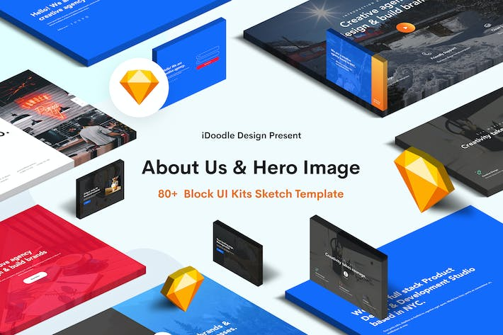 Thumbnail for Hero Image & About Us Sketch Block UI Kits