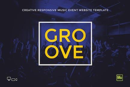 Groove - Музыкальное Событие/Вечеринка Промо Шаблон сайта