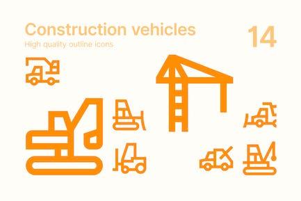 Icons für Baufahrzeugen