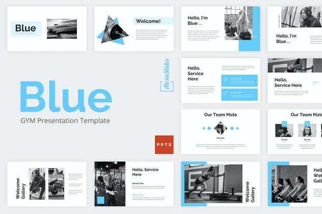 Blue - Gym Powerpoint Presentation Template