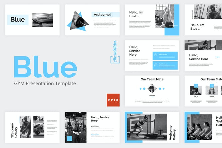 Thumbnail for Blue - Gym Powerpoint Presentation Template