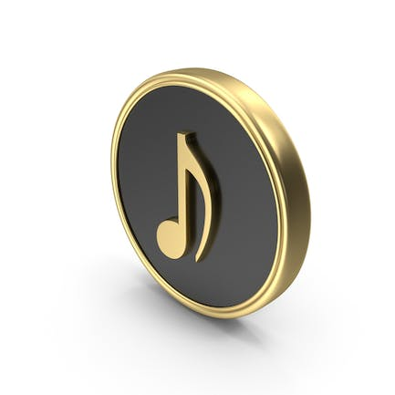 Eighth Note Music Coin Symbol Logo Icon