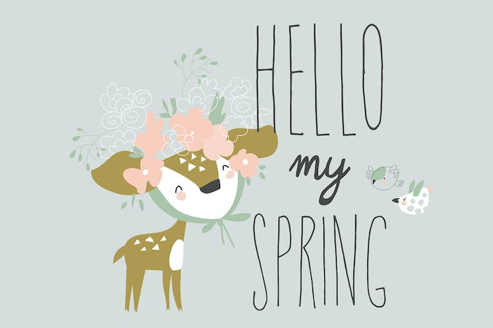 Thumbnail for Cartoon little deer with wreath meeting spring.