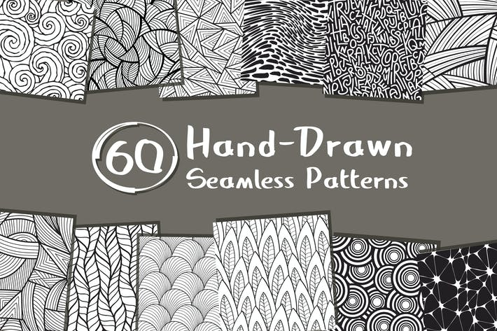 Cover Image For 60 Seamless Hand-Drawn Patterns