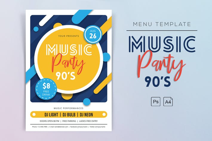 Thumbnail for Music Party 90s Flyers
