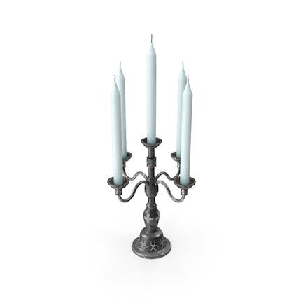 Soporte para velas de metal negro