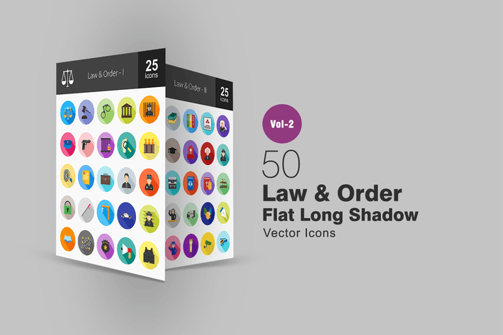 Thumbnail for 50 Law & Order Flat Long Shadow Icons