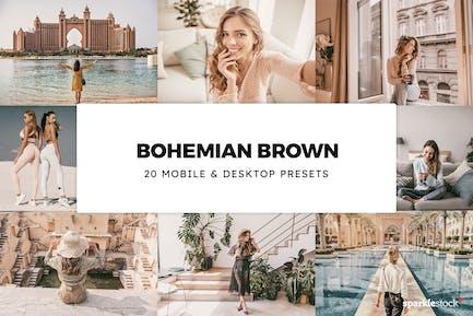 20 Bohemian Brown Lightroom Presets & LUTs