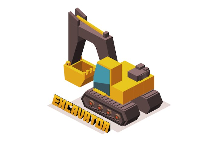 Thumbnail for yellow 3D excavator machine