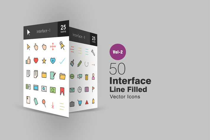 Thumbnail for 50 Interface Line Filled Icons