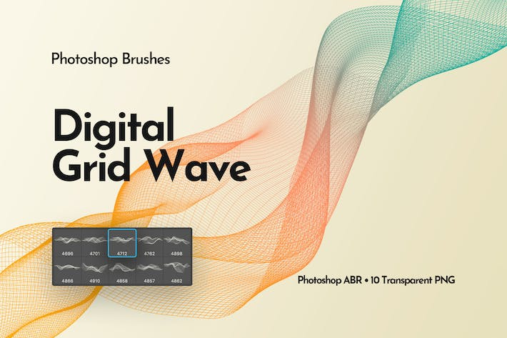 Thumbnail for Digital Grid Waves Photoshop Brushes