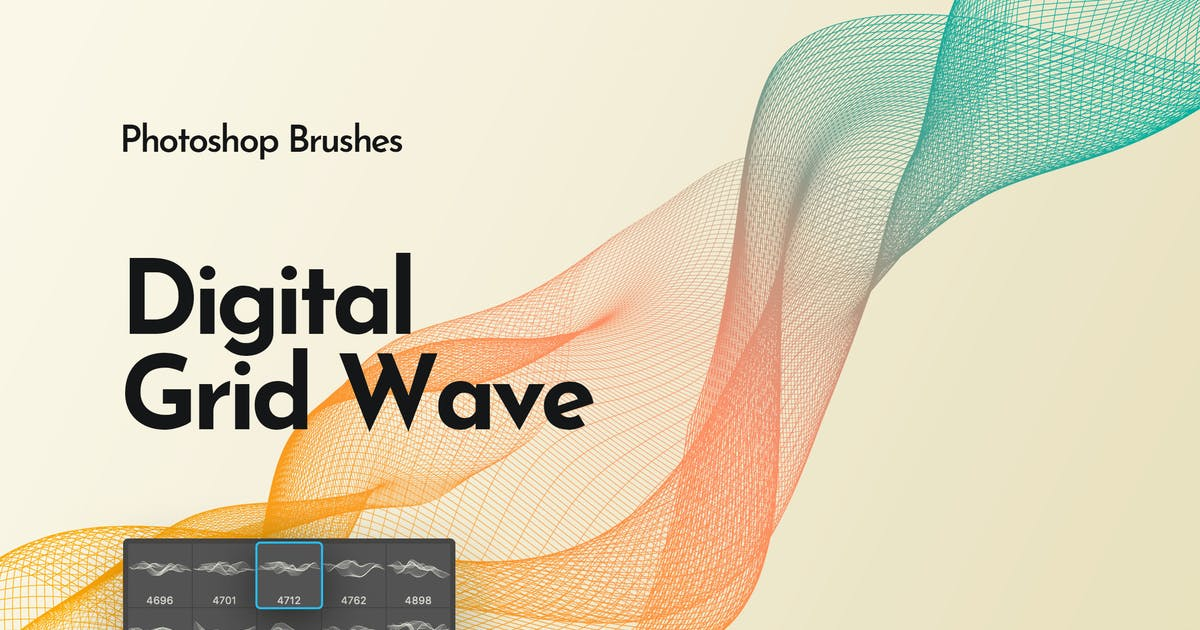 Download Digital Grid Waves Photoshop Brushes by themefire