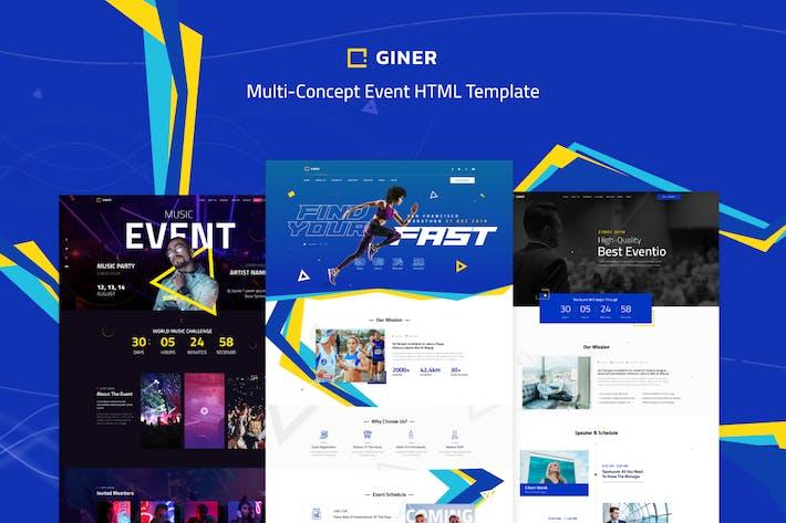 Giner | Modèle HTML d'événement multi-concept
