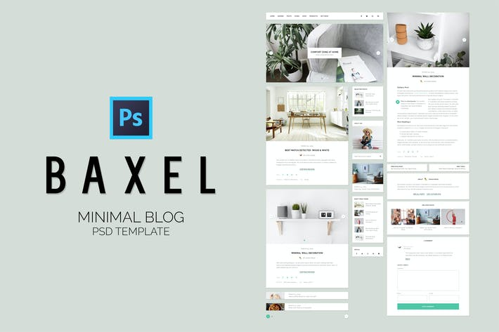 Thumbnail for Baxel - Minimal Blog PSD Template