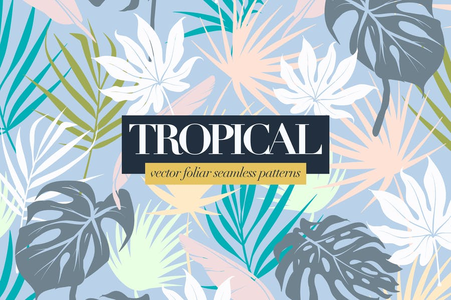 Colorful Tropical Foliar Seamless Patterns