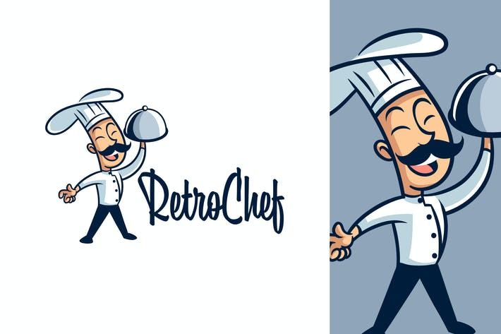 Thumbnail for Cartoon Retro Vintage Cook or Chef Logo