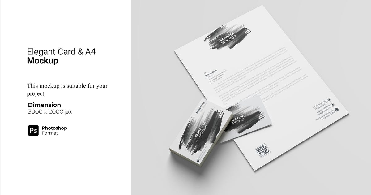 Download Elegant Card and A4 Paper Mockup by IanMikraz