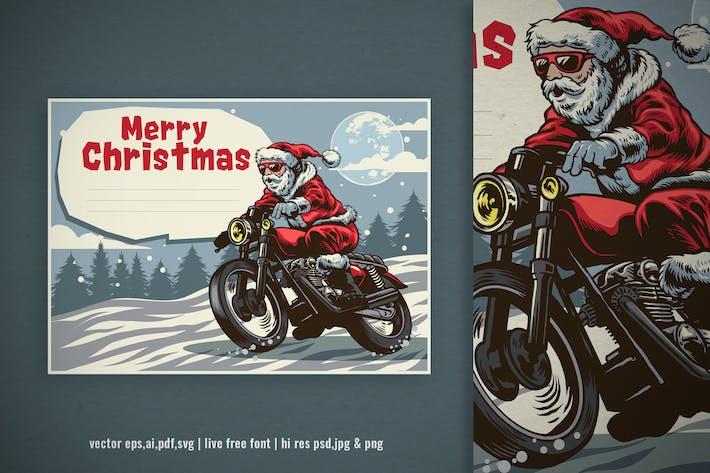 Thumbnail for hand drawn christmas santa claus ride motorbike