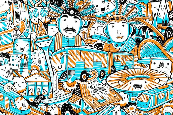 Thumbnail for Jakarta Wahrzeichen mit niedlichem Charakter