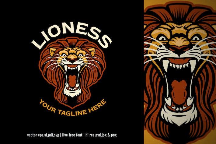 Thumbnail for roaring lion head mascot logo