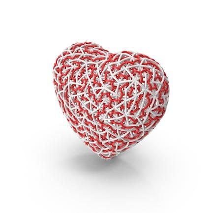 Тканое красно-белое сердце