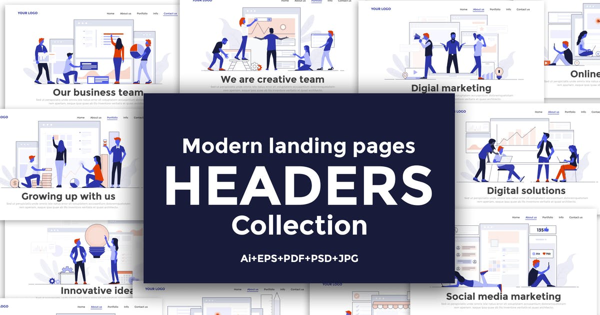 Download Landing page template on various topics by graphics4u
