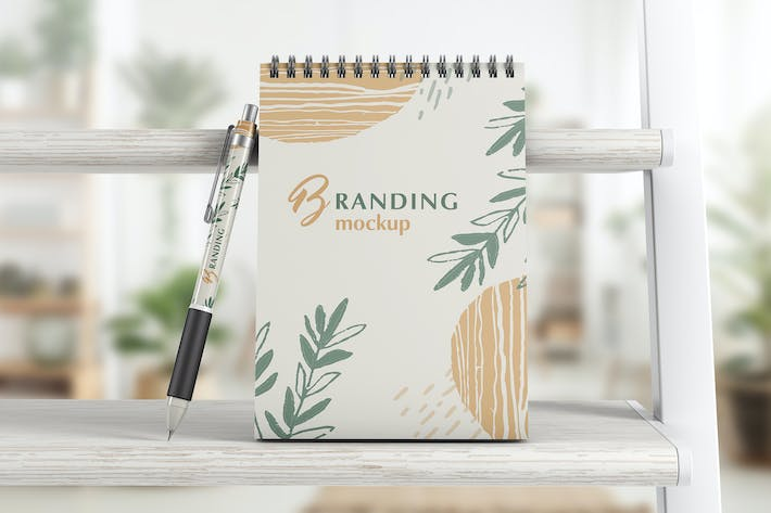 Thumbnail for Notebook With Pen Branding Mockup