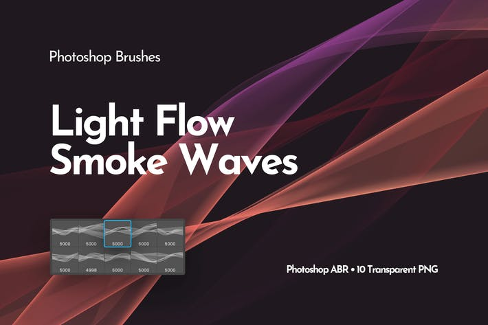 Thumbnail for Light Smoke Waves Photoshop Brushes