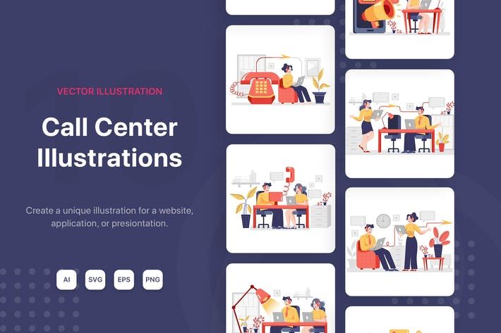 Callcenter-Illustrationen