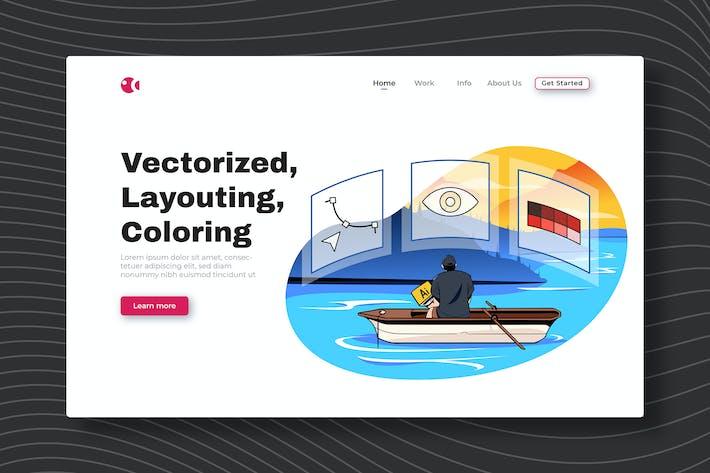Thumbnail for Vectorisé, Layouting, Coloriage - Landing Page
