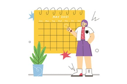 The Woman Creates a to do List Illustration