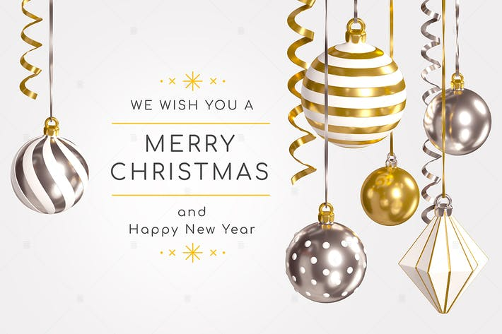 Merry Christmas and Happy New Year - 3d banner
