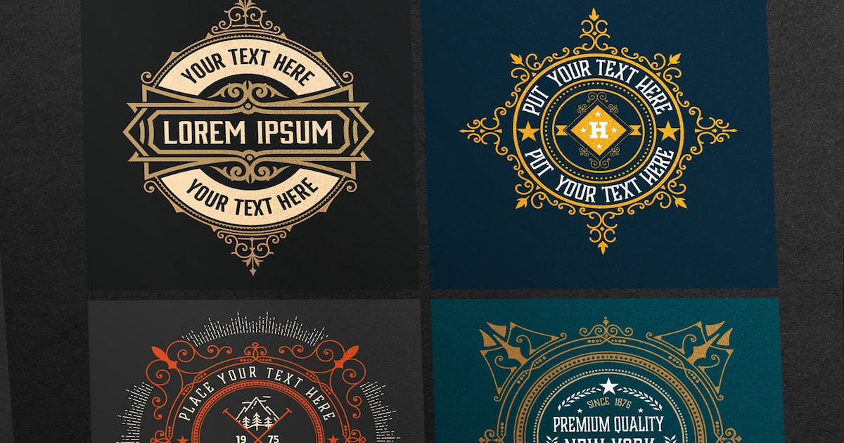Download Set of 4 vintage logos ready for packing by roverto007
