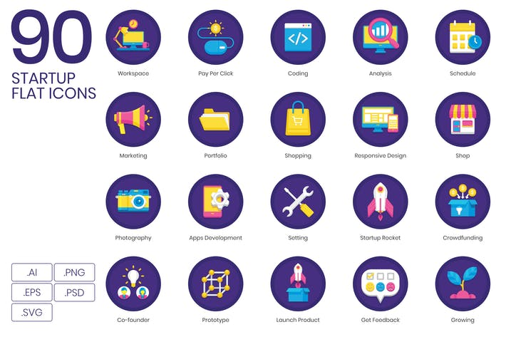 Thumbnail for 90 Startup Flat Icons - Orchid Series