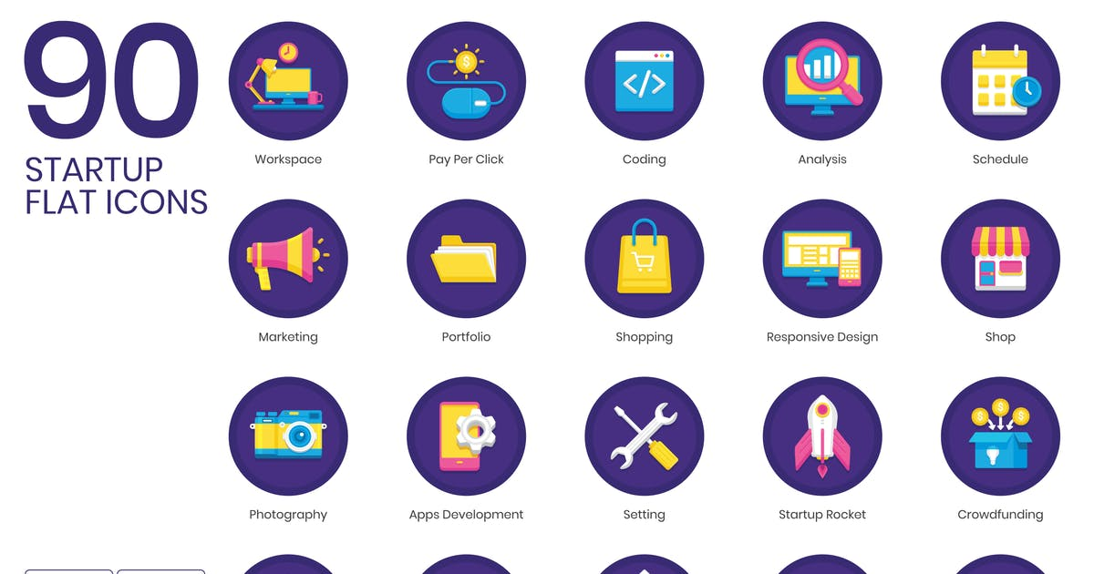 Download 90 Startup Flat Icons - Orchid Series by Krafted
