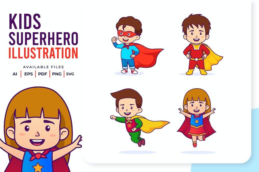 Ilustración de Superhéroes Niños