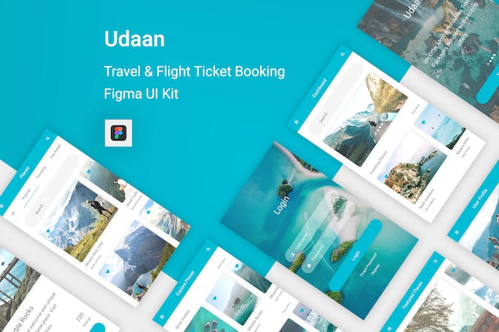 Thumbnail for Udaan - Travel & Flight Booking App for Figma