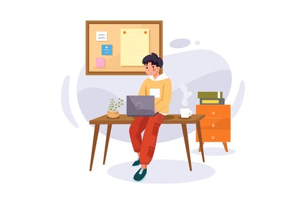 Online course with a boy sitting on desk