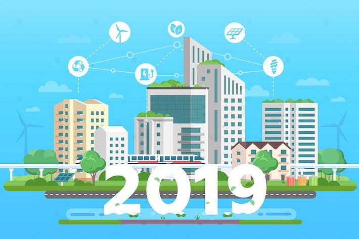 Thumbnail for Moderno Ciudad eco - ilustración de estilo de Diseño plano