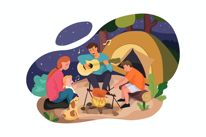 Thumbnail for Happy family enjoying camping in the forest