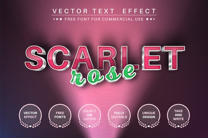 Scarlet rose - editable text effect,  font style