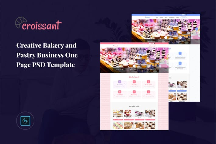 Thumbnail for Croissant - Pastry Business One Page PSD Template